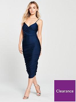 ax-paris-petite-navy-slinky-wrap-dress