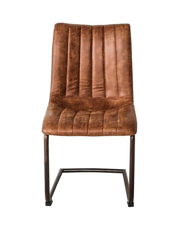 Hudson Living Pair Of Edington Faux, Brown Leather Dining Chair