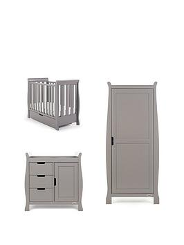 Product photograph showing Obaby Stamford Space Saver Sleigh 3-piece Nursery Room Set