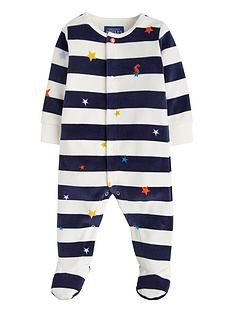 Joules Baby Boys Cosmo Stripe Velour Babygrow 3ab4596d842