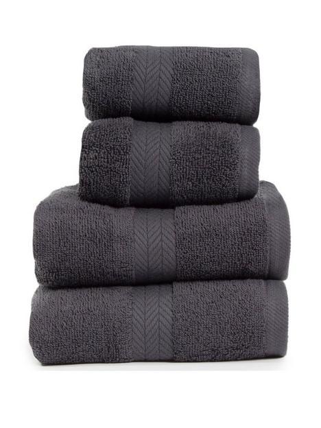 essentials-collection-4-piece-100-cotton-450-gsm-quick-dry-towel-bale-dark-grey