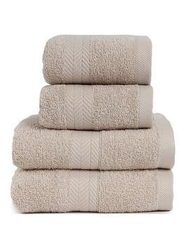 Essentials Collection 4-Piece 100% Cotton 450 Gsm Quick Dry Towel Bale &Ndash; Pebble