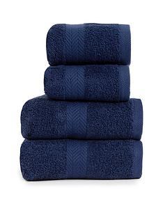 essentials-collection-4-piece-100-cotton-450-gsm-quick-dry-towel-bale-ndash-navy