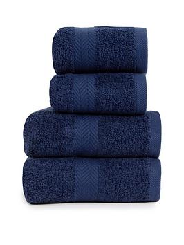 Essentials Collection 4-Piece 100% Cotton 450 Gsm Quick Dry Towel Bale &Ndash; Navy