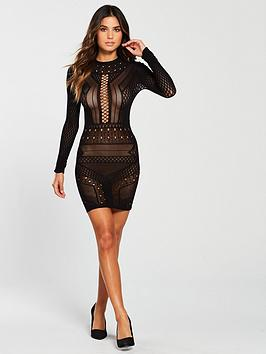 Ann Summers Ann Summers Janelle Circular Knit Dress - Black Picture