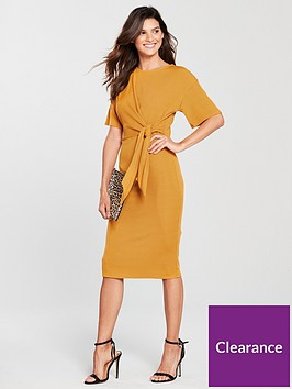 river-island-river-island-ribbed-tie-detail-midi-dress--ochre
