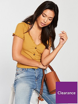 miss-selfridge-frill-short-sleeve-button-through-top-ochre