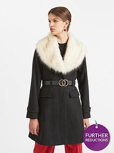fb2cf49c020c Miss Selfridge Miss Selfridge Belted Faux Fur Fit And Flare Coat