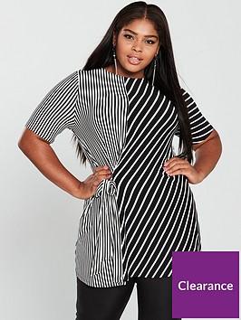 v-by-very-curve-stripe-tie-tunic-blackwhitenbsp