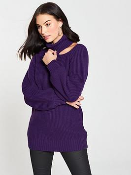 v-by-very-cut-out-shoulder-roll-neck-jumper-vibrant-purplenbsp