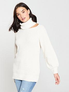 v-by-very-cut-out-shoulder-roll-neck-jumper-creamnbsp