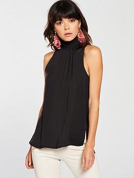 river-island-high-neck-swing-top-black