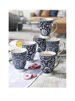Waterside Blue Floral Footed Mugs Set Of 6