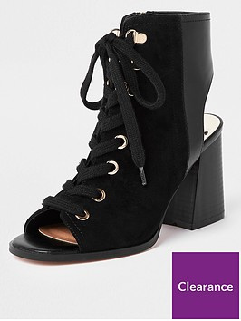 river-island-lace-up-block-heel-shoe-boot-black