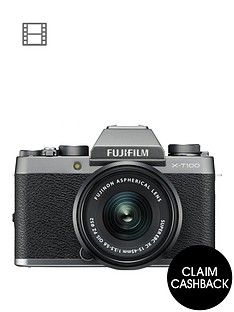 fujifilm-x-t100nbsp242mp-mirrorless-3-inch-tilt-lcd-4k-camera-silver-with-xc-15-45mm-black-lens-kit
