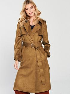 warehouse-suedette-trench-coat-tobacco