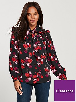 v-by-very-printed-bow-tie-ruffled-blouse--nbspfloral