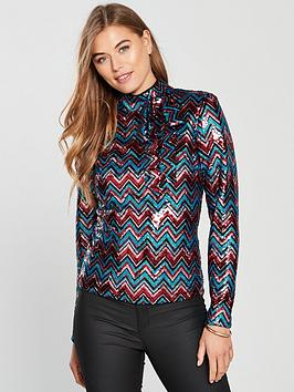 v-by-very-sequin-high-neck-bow-blouse-multi