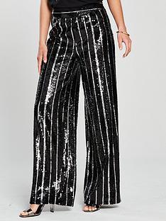 v-by-very-sequin-stripe-wide-leg-trouser-black