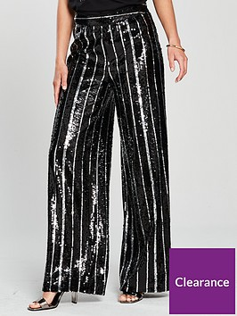 v-by-very-sequin-stripe-wide-leg-trouser-black