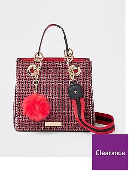 river-island-check-mini-tote-bag-red