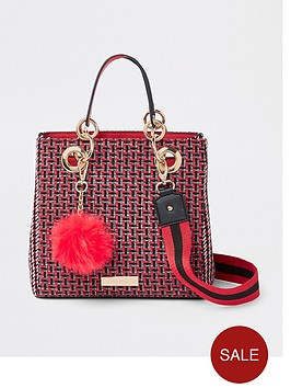 river-island-check-mini-tote-bag-red