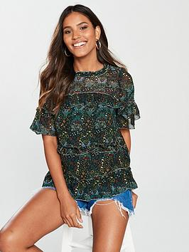 river-island-river-island-ditsy-print-frill-top-green