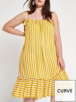 ri-plus-pomnbsppom-stripe-midi-dress-yellowwhite