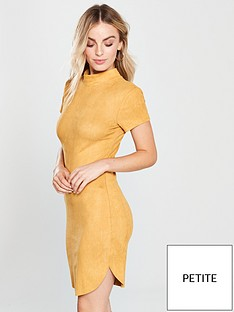 ax-paris-petite-faux-suede-curved-hem-dress-mustard