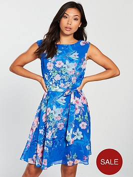 wallis-pretty-fit-amp-flare-dress-blue