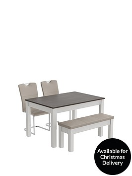 consort-tivoli-130-cm-dining-table-with-padded-bench-2-cantilever-chairs