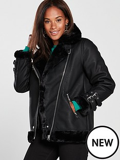 warehouse-faux-fur-pu-aviator-jacketnbsp--black