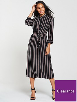 warehouse-stripe-midi-shirt-dress--blacktan