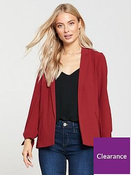 oasis-soft-tie-detail-blazer-mid-red