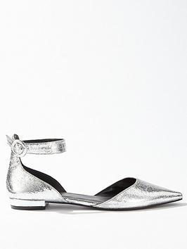miss-selfridge-ankle-strap-pointed-flat-ballet-shoe