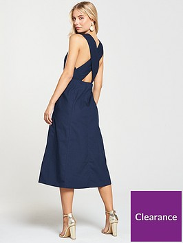 warehouse-cross-back-midi-dress-navy