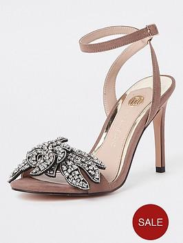 river-island-river-island-emellished-flower-skinny-heel-sandals-beige
