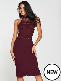 ax-paris-ax-paris-crochet-top-frill-hem-bodycon-dress
