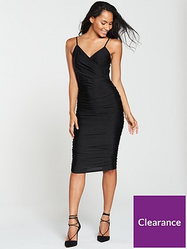 ax-paris-wrap-front-slinky-midi-dress-black