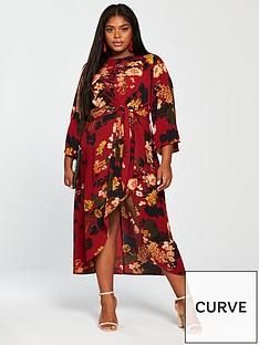 ax-paris-ax-curve-wrap-sleeve-dress