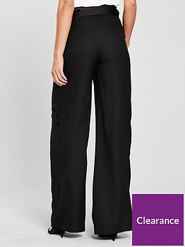 76b1e29c9257 V by Very Wide Legged Belted High Waist Trousers - Black ...