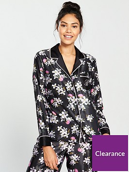 b-by-ted-baker-sunlit-floral-revere-pyjama-top-black-print