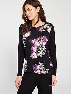 ted-baker-sunlit-floral-jerseynbsplong-sleeved-pyjama-top-blacknbsp
