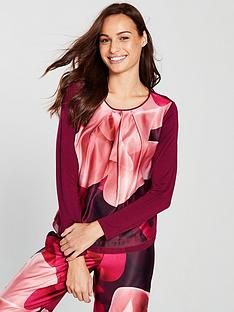 ted-baker-porcelain-rose-jersey-long-sleeve-pyjama-top-winenbsp