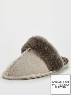 v-by-very-whistle-real-suede-sheepskin-mule-slippers-with-gift-box-grey