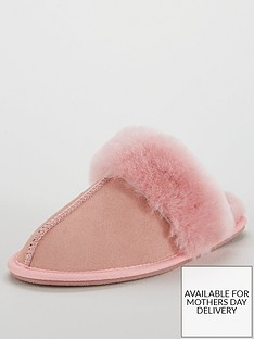 v-by-very-whistle-real-suede-sheepskin-mule-slippers-with-gift-box-pink