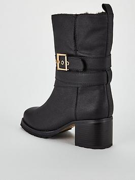 10f62d792e87e3 V by Very Sinead Faux Fur Lined Strap Calf Boots - Black ...