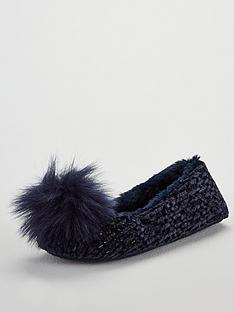 v-by-very-wick-pom-pom-ballerina-slippers-blue