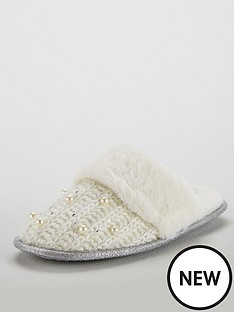 v-by-very-wist-pearl-trim-knit-mule-slipper