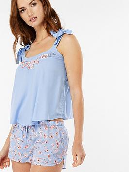 f0cbaf89c786 Accessorize Embroidered Short Pyjama Set - Light Blue